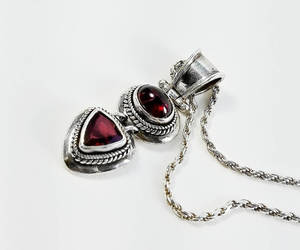 etsy, ruby pendant, and sterling necklace image