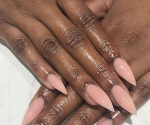 nails, stiletto, and Nude image