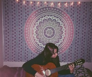 girl, room, and tapestry image