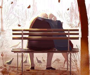 art, love, and autumn image