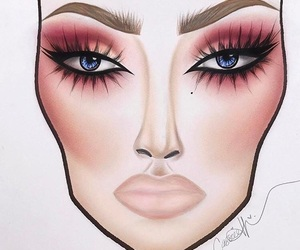 makeup, face chart, and love image