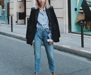 blonde, coat, and jeans image