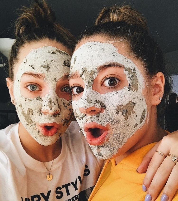 face mask, sisters, and beauty image