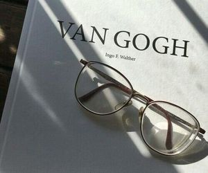 book, van gogh, and glasses image