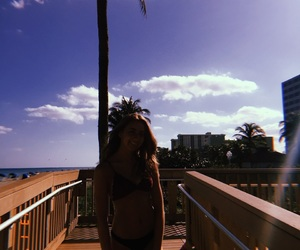 beach, clouds, and girl image