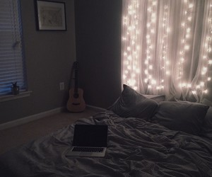 bedroom, guitar, and lights image