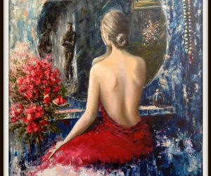 etsy, figurative painting, and woman painting image