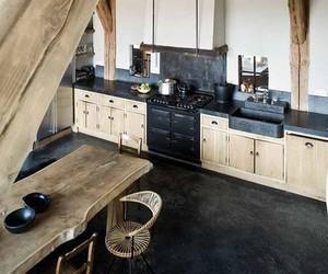 kitchen, wood, and black image