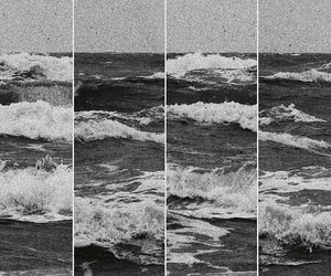 sea, waves, and black and white image
