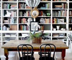 bookshelves, dining room, and home decor image