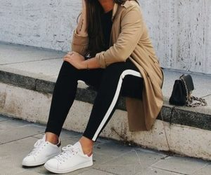 sneakers, sporty, and trench coat image
