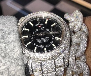 black, chains, and rolex image