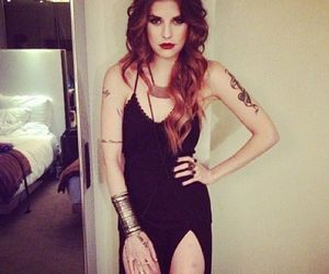 black dress, Tattoos, and blonde image