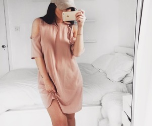 dress, pink dress, and street style image