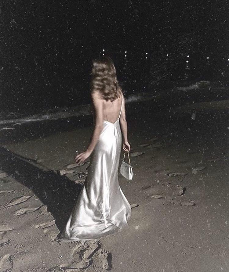 girl, night, and beach image