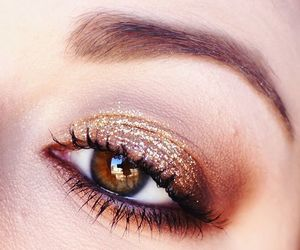 eyebrows, glitter, and gold image