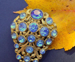 art deco, blue, and brooch image