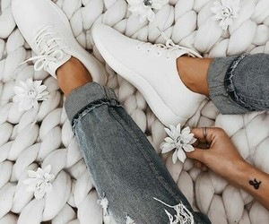 jeans, sneakers, and white image
