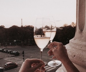 champagne, drink, and sunset image
