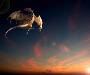 dragon, dragon flying, and winged dragon image