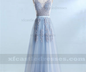 v neck prom dresses, lace long prom dresses, and long prom dresses a line image