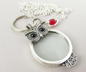 magnifying glass, gift for her, and id necklace image