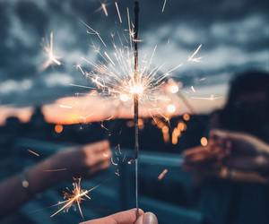fireworks, girls, and lights image