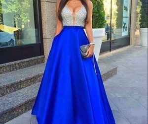 royal blue, royal blue prom dress, and beaded dress image