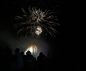 aesthetic, black, and fireworks image