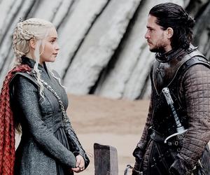 couple, jon snow, and daenerys targaryen image