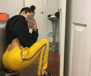 ass, girl, and yellow image