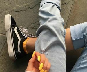 nails, vans, and yellow image