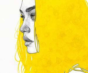 art, yellow, and drawing image