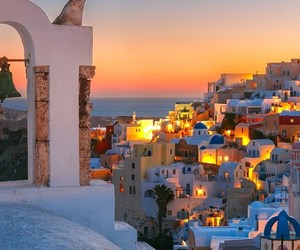 greek island santorini, athens to santorini, and greek island hopping image