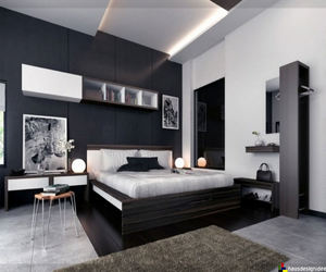 bedroom, home, and black image