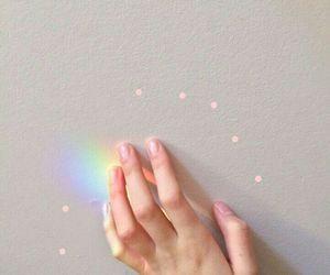 aesthetic, rainbow, and hand image