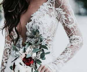 dress, beautiful, and flowers image