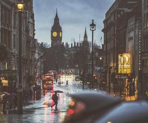 london, city, and rain image