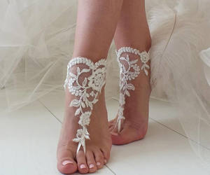 etsy, bridal sandals, and ivory lace sandals image
