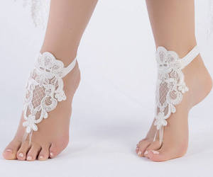 bohemian, barefoot sandals, and beach wedding shoes image