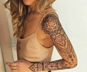 tattoo, arm, and mandala image