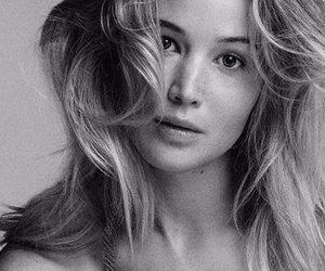 black and white, header, and Jennifer Lawrence image
