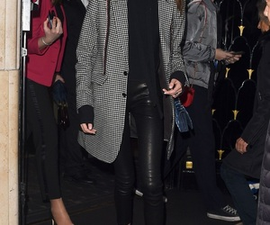 converse, leather pants, and total black image