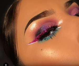 glitter, green, and makeup image