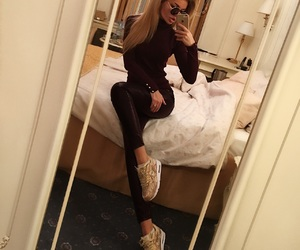 blonde, leather, and goldshoes image