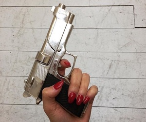 red, red nails, and white image