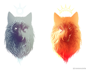wolf, moon, and sun image