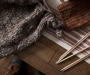 autumn, brown, and knitting image