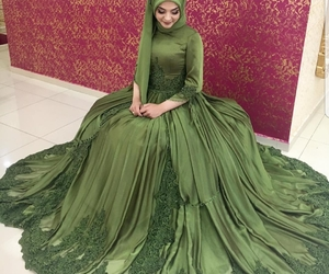 bride, dress, and green image