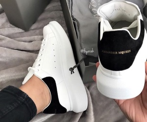 Alexander McQueen, black & white, and shoes sneakers image